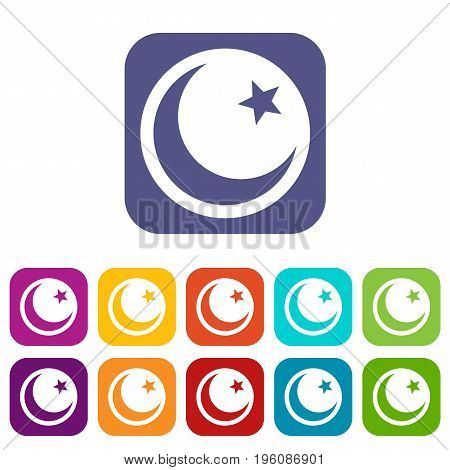 Crescent and star icons set vector illustration in flat style in colors red, blue, green, and other