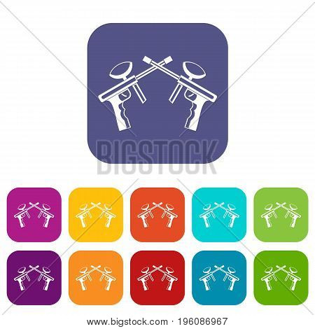 Paintball guns icons set vector illustration in flat style in colors red, blue, green, and other