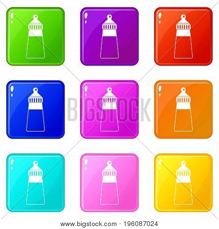 Baby milk bottle icons of 9 color set isolated vector illustration