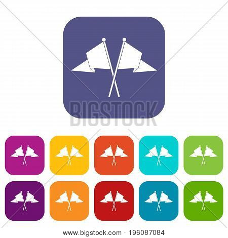 Two flags icons set vector illustration in flat style in colors red, blue, green, and other