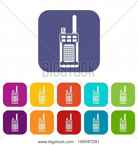 Portable handheld radio icons set vector illustration in flat style in colors red, blue, green, and other