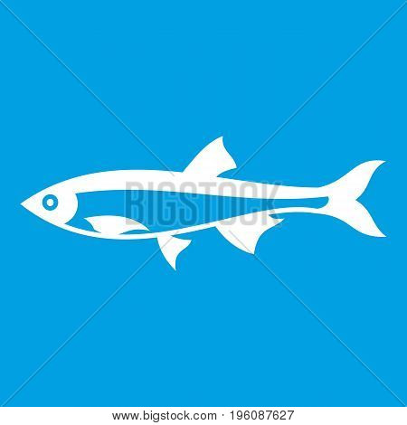 Herring fish icon white isolated on blue background vector illustration