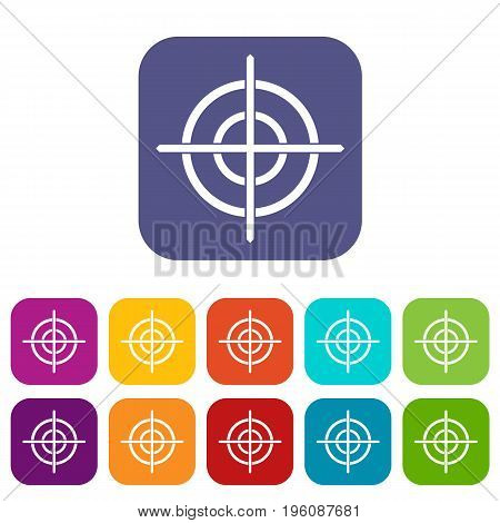 Target crosshair icons set vector illustration in flat style in colors red, blue, green, and other