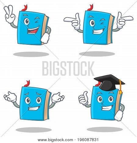 Set of blue book character with two finger wink graduation vector illustration