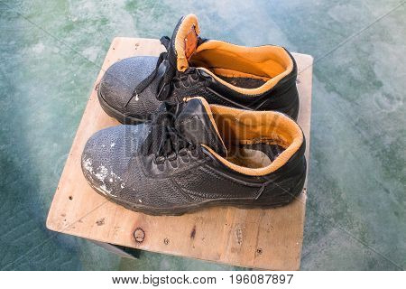 Old Safety Shoes. boot, closeup, comfortable, construction,