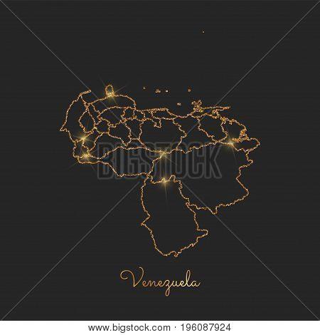 Venezuela Region Map: Golden Glitter Outline With Sparkling Stars On Dark Background. Detailed Map O
