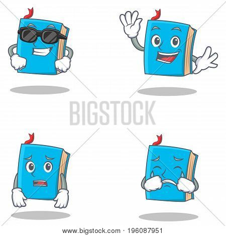 Set of blue book character with cool waving afraid crying vector illustration