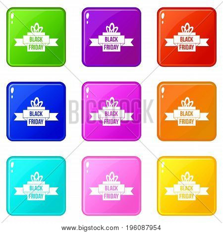 Black friday ribbon icons of 9 color set isolated vector illustration