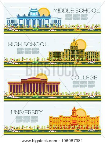 Set of University, High School and College Study Banners. Students Go to the Main Building of University. Skyline with Blue Sky and Green Tree. Banner with Copy Space.