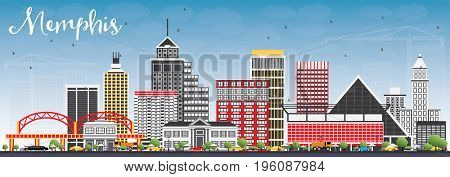 Memphis Skyline with Color Buildings and Blue Sky. Business Travel and Tourism Concept with Historic Architecture. Image for Presentation Banner Placard and Web Site.