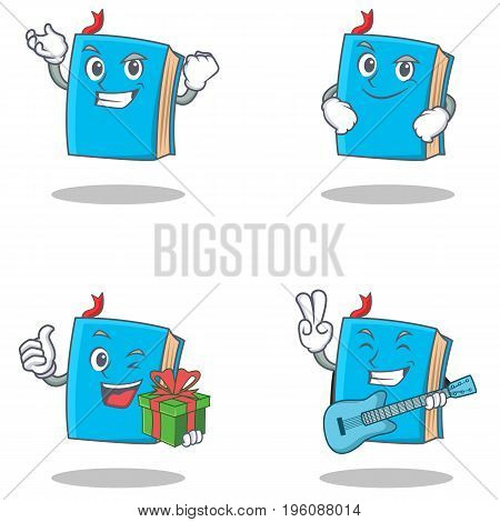 Set of blue book character with successful smirking gift guitar vector illustration