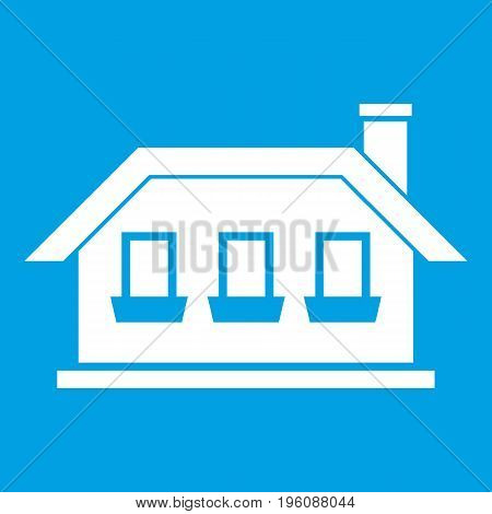 One-storey house with three windows icon white isolated on blue background vector illustration