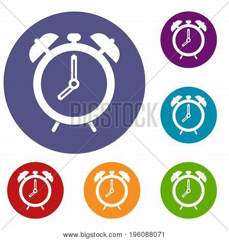 Alarm clock icons set in flat circle red, blue and green color for web