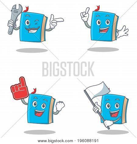 Set of blue book character with mechanic foam finger flag vector illustration