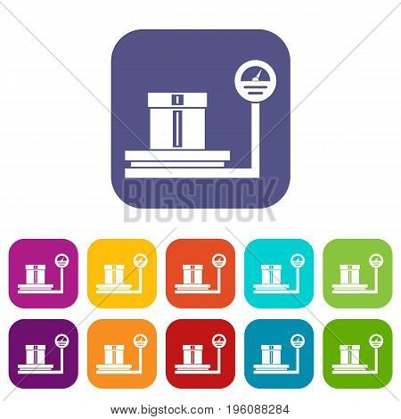 Shop scales icons set vector illustration in flat style in colors red, blue, green, and other