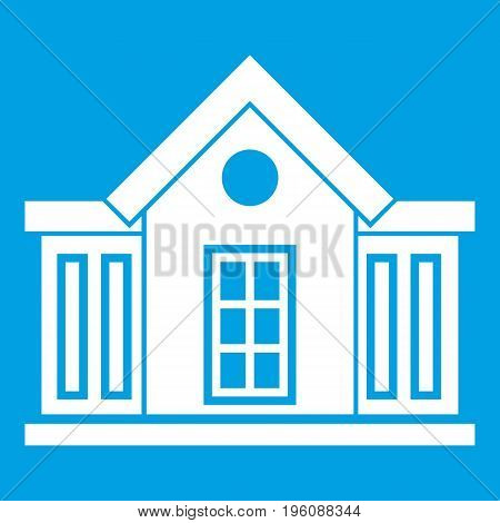 Mansion icon white isolated on blue background vector illustration