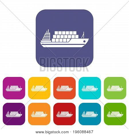 Cargo ship icons set vector illustration in flat style in colors red, blue, green, and other