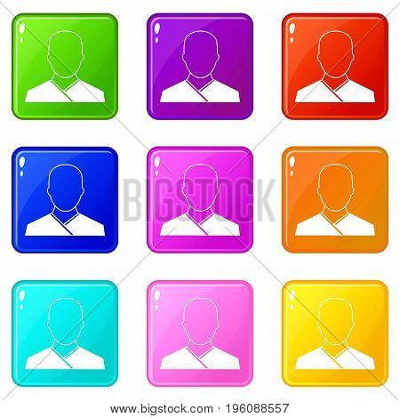 Buddhist monk icons of 9 color set isolated vector illustration