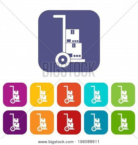 Hand cart with cardboards icons set vector illustration in flat style in colors red, blue, green, and other