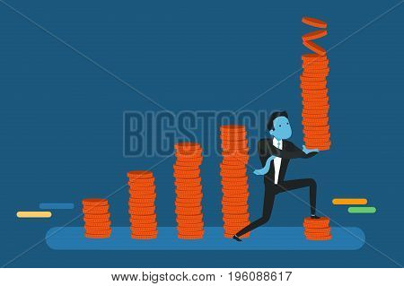 Business man with tower of coins building chart coins.