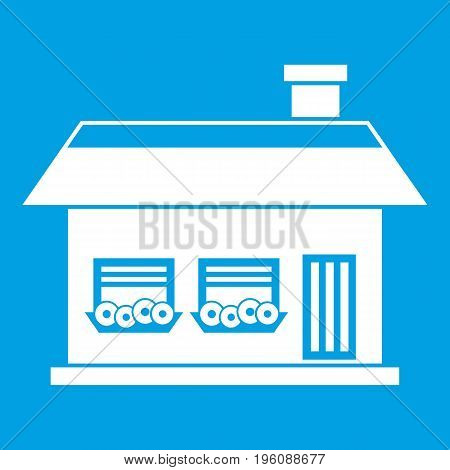 One storey house with two windows icon white isolated on blue background vector illustration