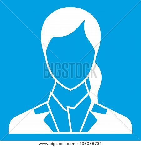 Woman icon white isolated on blue background vector illustration