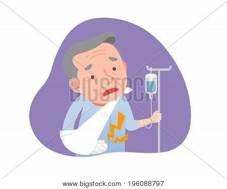 old man with broken arms. Medical Illustration.