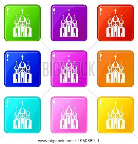 Church building icons of 9 color set isolated vector illustration