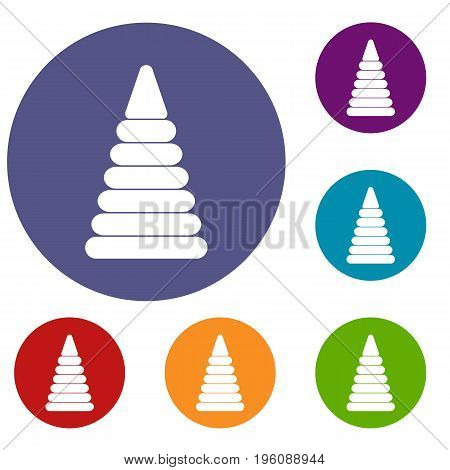 Pyramid built from plastic rings icons set in flat circle red, blue and green color for web