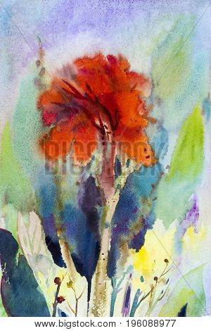 Watercolor landscape original painting on paper colorful of canna lily flower and emotion in sky background
