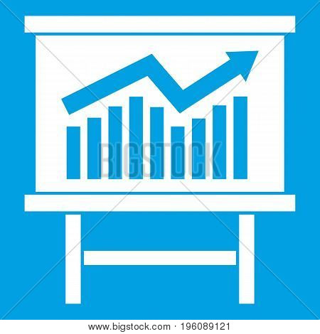 Growing chart on presentation board icon white isolated on blue background vector illustration