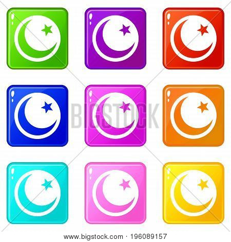 Crescent and star icons of 9 color set isolated vector illustration