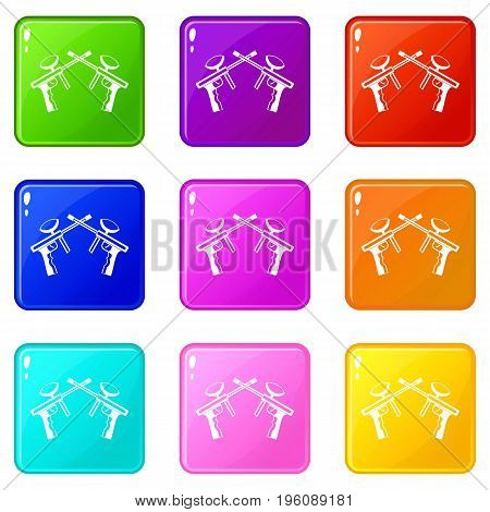 Paintball guns icons of 9 color set isolated vector illustration