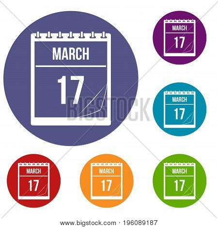 Calendar with the date of March 17 icons set in flat circle red, blue and green color for web