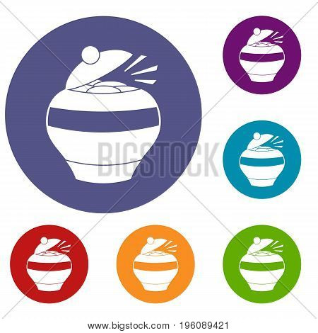 Pot full of gold coins icons set in flat circle red, blue and green color for web