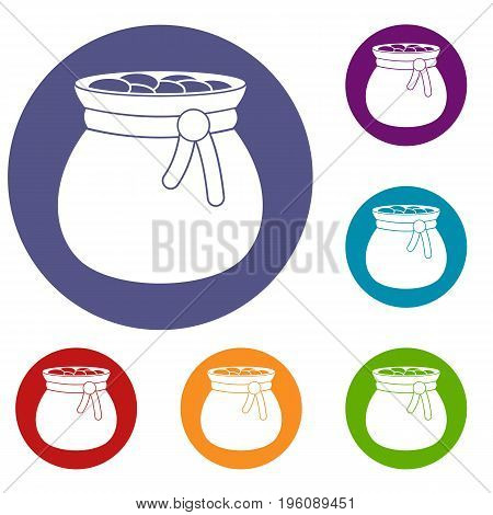 Bag full of gold coins icons set in flat circle red, blue and green color for web