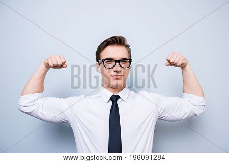 Athlete Young Nerdy Businessman In Formal Wear And Glasses Is Showing His Internal Strength, Such Mu