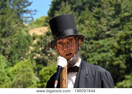 Duncan Mills CA - July 16 2017: Robert Broski as Lincoln at Northern California's largest Civil war reenactments and one of the largest west of the Mississippi. A two day living history experience.