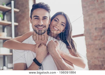 True Love. Beautiful Latino Mulatto Couple Of Young Lovers Are Hugging Indoors At Home, With Love An