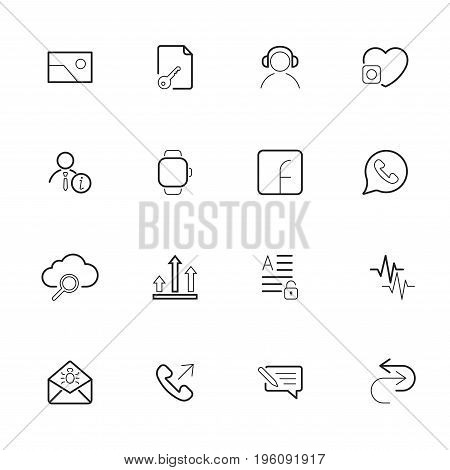 Set Of Ui Modern Flat Thin Icons. Icon Set With Editable Stroke.