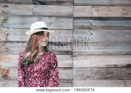 beautiful young asian girl have a happy time alone vintage tone free happy woman enjoying nature beauty girl outdoor freedom concept