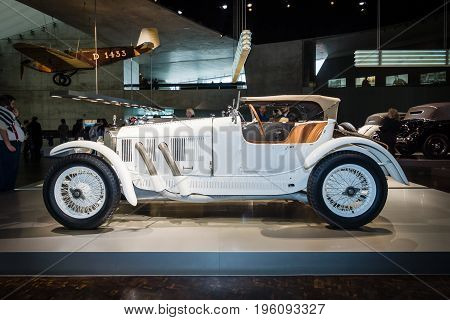 STUTTGART GERMANY- MARCH 19 2016: Sports car Mercedes 10/40 PS 1923. Mercedes-Benz Museum.