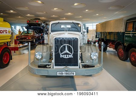 STUTTGART GERMANY- MARCH 19 2016: Heavy truck Mercedes-Benz Lo 6500 platform truck 1938. Mercedes-Benz Museum.