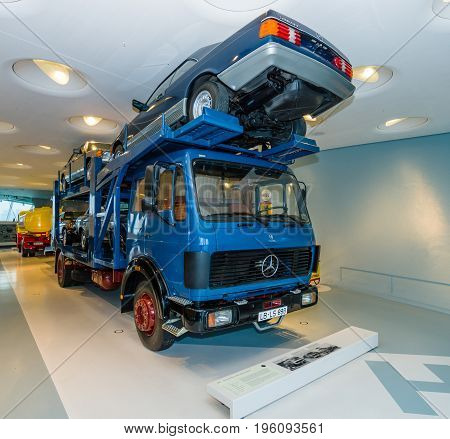 STUTTGART GERMANY- MARCH 19 2016: Car transporter heavy duty truck Mercedes-Benz 1634 1980. Mercedes-Benz Museum.