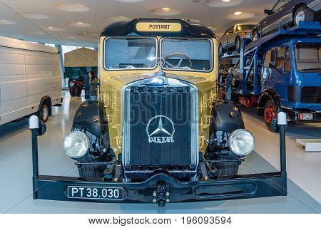 STUTTGART GERMANY- MARCH 19 2016: Truck Mercedes-Benz O 10000 mobile post office (Austria) 1938. Mercedes-Benz Museum.