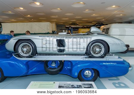STUTTGART GERMANY- MARCH 19 2016: The racing sports car Mercedes-Benz 300 SLR on the trailer 1955. Mercedes-Benz Museum.