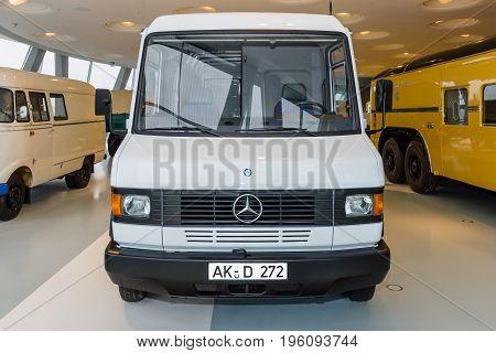 STUTTGART GERMANY- MARCH 19 2016: Panel van Mercedes-Benz 508D 1994. Mercedes-Benz Museum.