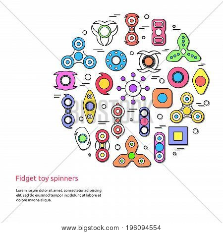 Fidget Spinners Round Design Concept. Popular Toy For Stress Relief.