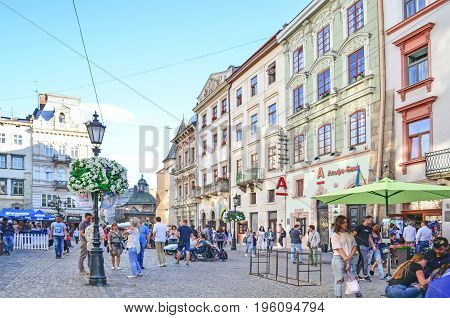 Lviv, Ukraine - July 16, 2017: Historic center of Lviv. Morning Lviv city in the sunlight. Old town of Lviv