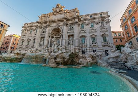 Trevi Fountain the baroque fountain in Rome Italy at morning light.